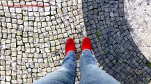 My red boots are made for walking and that's just what they do...