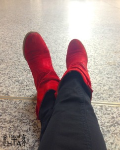 Red boots on the road again