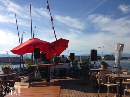 """Bateau Genève - bar and restaurant, for free to enjoy the most beautiful view of the """"rade"""" but paying for lunch or after work drink is on more for good social cause! Free breakfast for people in need"""